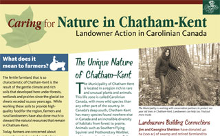 Caring for Nature in Chatham-Kent Fact Sheet