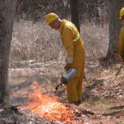 Image of David Clemons doing a controlled burn