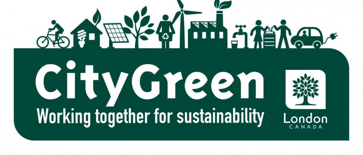 """Logo of CityGreen from the City of London with depictions of environmental-focused initiatives such as cycling and a message at the bottom saying """"Working together for sustainability"""" message"""