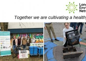 A collage of four images, L-R: 4 team members stand behind an e-bike that delivers organic groceries; a LittaTrap collects trash from a storm drain; a woman plants seedlings in a raised vegetable garden bed; and a bike parking lot is packed with over 50 bicycles.