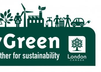 "Logo of CityGreen from the City of London with depictions of environmental-focused initiatives such as cycling and a message at the bottom saying ""Working together for sustainability"" message"