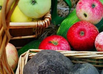 Close up of zucchinis, apples, a basket of beets, and a basket of apples.