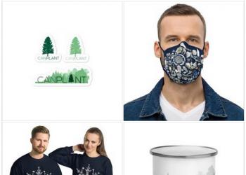 CanPlant products - stickers, face mask, sweatshirts, and camping mug