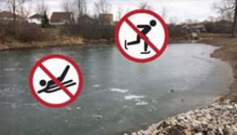 No Skating or sledding on a Storm Pond