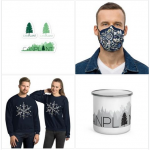 CanPlant products - stickers, face mask, sweatshirts, and camping mug